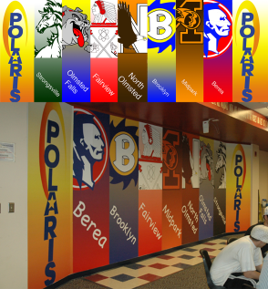 This is a before and after shot of a mural created in 2005 at Polaris Career Center. The Career Center was comprised of 7 different high schools. Each section has the school's logo and colors.