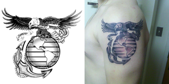 This is a before and after shot of a commission piece for a Marine's tattoo. Find out more on this on here: https://shawngorey.com/2012/01/06/the-first-post-of-2012/